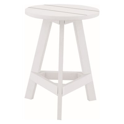 Yumi Wooden Round Table Stool, White