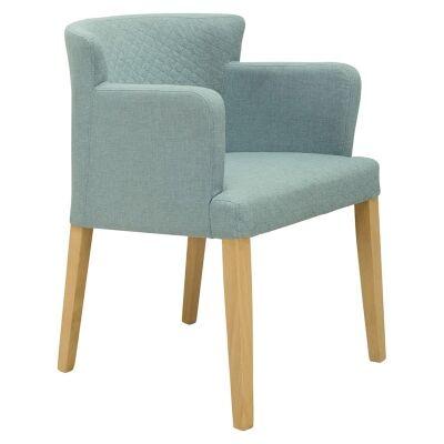 Rhoda Commercial Grade Fabric Dining Armchair, Aquamarine / Natural