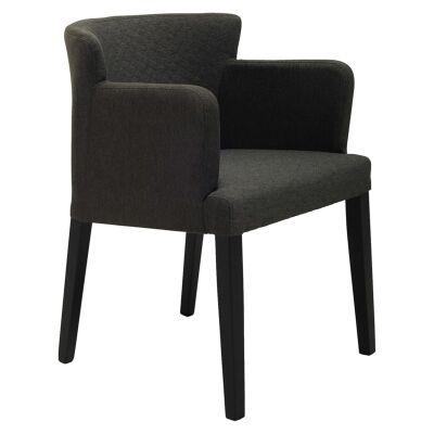 Rhoda Commercial Grade Fabric Dining Armchair, Mud / Black