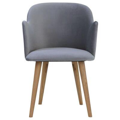 Nayeli Veloutine Fabric Dining Chair, Grey