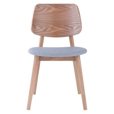 Mercy Oak Timber Dining Chair, Timber Back, Natural / Light Grey