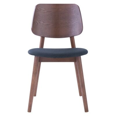 Mercy Oak Timber Dining Chair, Timber Back, Walnut / Dark Grey