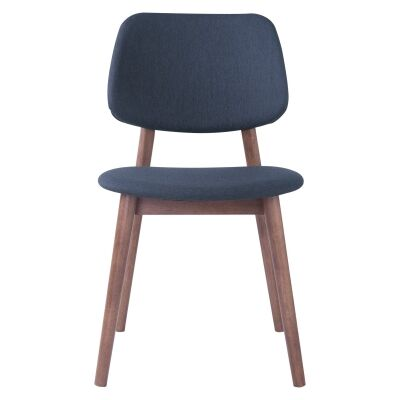 Mercy Oak Timber Dining Chair, Fabric Back, Walnut / Dark Grey