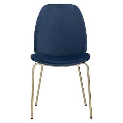 Adelia Veloutine Fabric Dining Chair, Blue / Brass