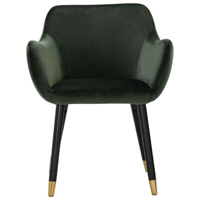 Ailin Veloutine Fabric Dining Armchair, Olive