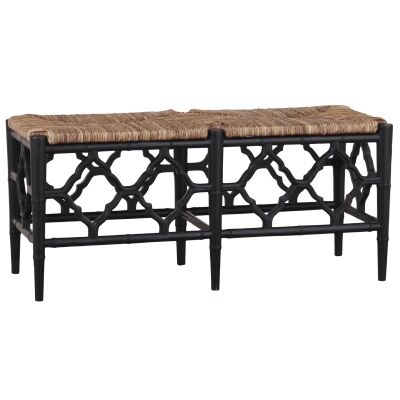 Junzi Mahogany Timber Oriental Bench, Black