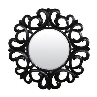 Emeril Manogany Timber Frame Wall Mirror, 107cm, Distressed Black