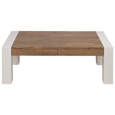 Higgins 2 Drawer Coffee Table, 120cm, Antique Oak / High Gloss White