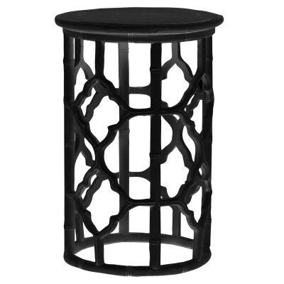 Junzi Mahogany Timber Oriental Round Side Table, Black