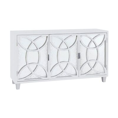 Lucida Mahogany Timber 3 Door Sideboard, 146cm, White