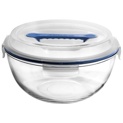 Glasslock Handy Tempered Glass Round Container, 4 Litre