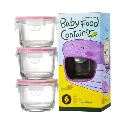Glasslock 3 Piece Round Baby Food Container Set