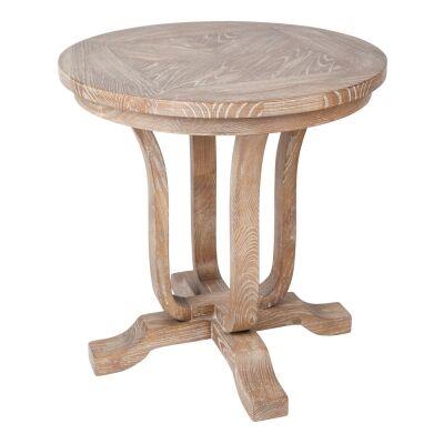 Saddler Solid Timber Round Side Table, Lime Washed Oak