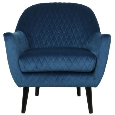 Joy Joy Quilted Velvet Fabric Occasional Armchair, Navy