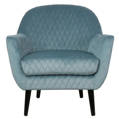 Joy Joy Quilted Velvet Fabric Occasional Armchair, Duck Egg Blue