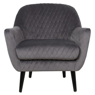 Joy Joy Quilted Velvet Fabric Occasional Armchair, Charcoal