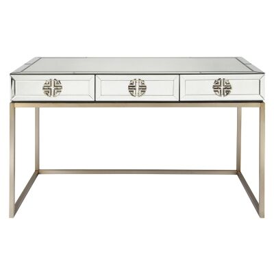 Rochester Antique Mirrored 3 Drawer Desk, 137cm