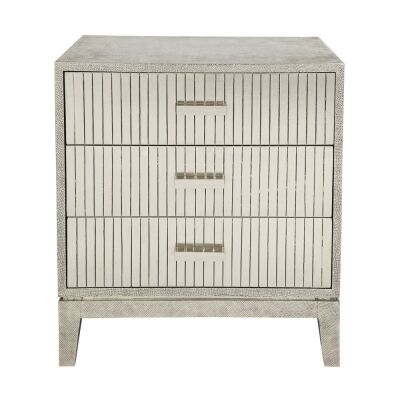 Finch Hammered Nickel 3 Drawer Bedside Table