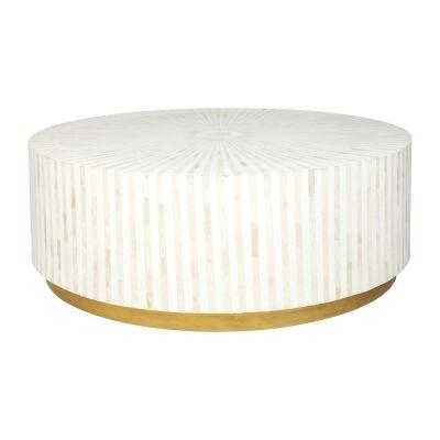 Makayla Bone Inlay Round Coffee Table, 100cm