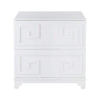 Greek Key 2 Drawer Bedside Table, White