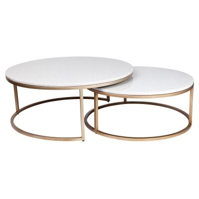 Chloe 2 Piece Stone & Iron Coffee Table Set, 95cm, Antique Gold