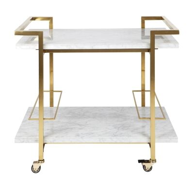 Franklin Marble & Stainless Steel Drinks Trolley, Gold / White