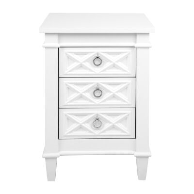 Plantation 2 Drawer Bedside Table, Small, White