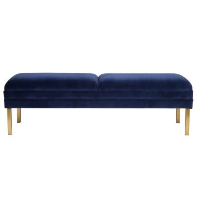 Broadway Velvet Fabric Bed End Ottoman, Navy