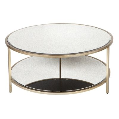 Cocktail Antique Mirror Top Iron Round Coffee Table, 100cm, Antique Gold