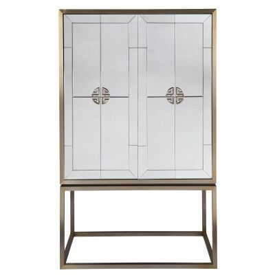 Rochester II Antique Mirrored 2 Door Bar Cabinet