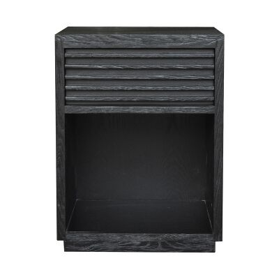 Bahama Oak Timber Bedside Table, Black