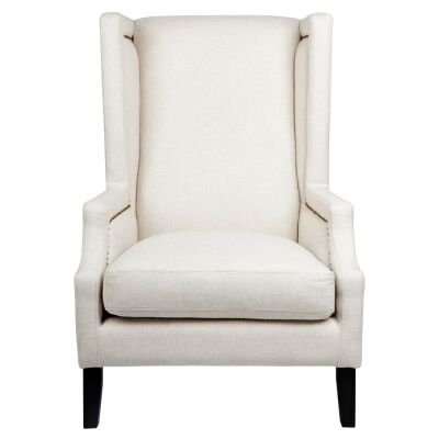 Emperor Fabric Wing Back Armchair, Oatmeal