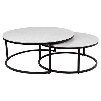 Chloe 2 Piece Iron & Stone Nested Coffee Table Set, 95cm, Black
