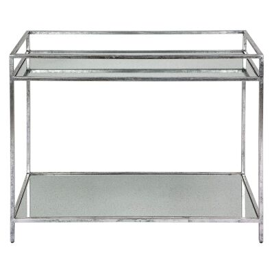 Cocktail Antique Mirror Top Iron Drinks Table, Antique Silver