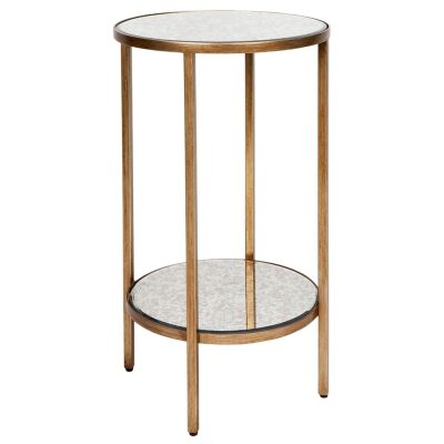 Cocktail Antique Mirror Top Iron Side Table, Small, Antique Gold