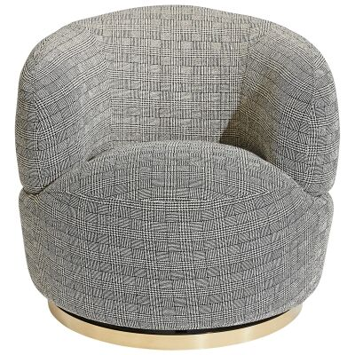 Tubby Fabric Swivel Armchair, Black Plaid