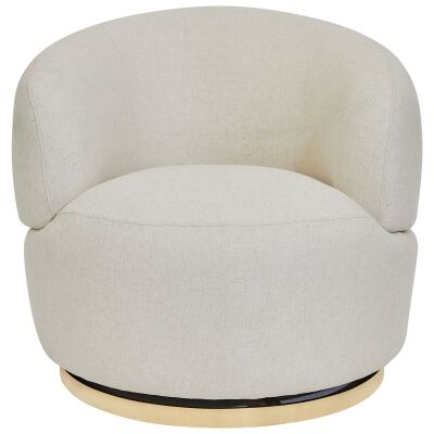 Tubby Fabric Swivel Armchair, Natural