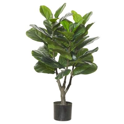 Potted Artificial Fiddle Leaf Fig Tree, Type C, 90cm