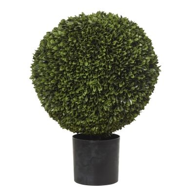 Potted Artificial Box Leaf Ball Topiary, 76cm