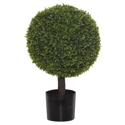 Potted Artificial Tea Leaf Topiary, Ball, 61cm