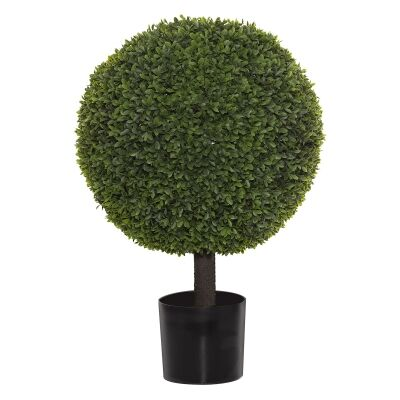 Potted Artificial Tea Leaf Topiary, Ball, 79cm