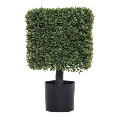 Potted Artificial Tea Leaf Topiary, Hedge, 56cm
