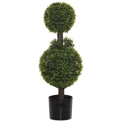 Potted Artificial Tea Leaf Topiary, Double Ball, 92cm