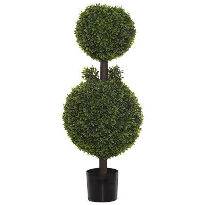 Potted Artificial Tea Leaf Topiary, Double Ball, 120cm