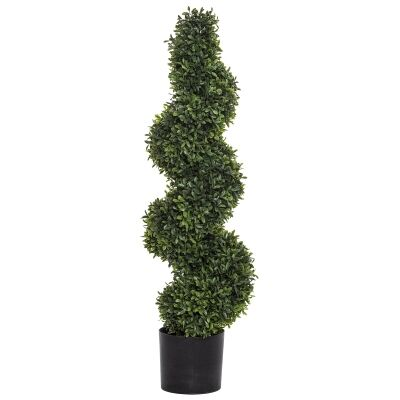 Potted Artificial Tea Leaf Topiary, Spiral, 91cm