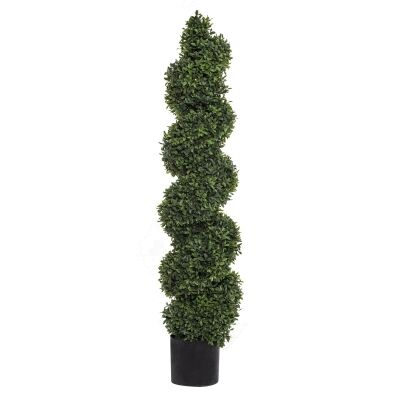 Potted Artificial Tea Leaf Topiary, Spiral, 121cm