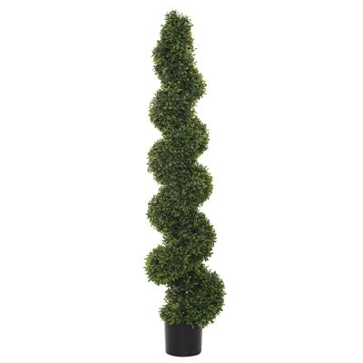 Potted Artificial Tea Leaf Topiary, Spiral, 145cm