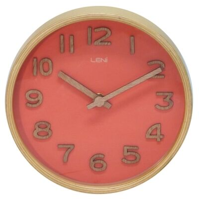 Leni Wooden Table / Wall Clock, 18cm, Coral