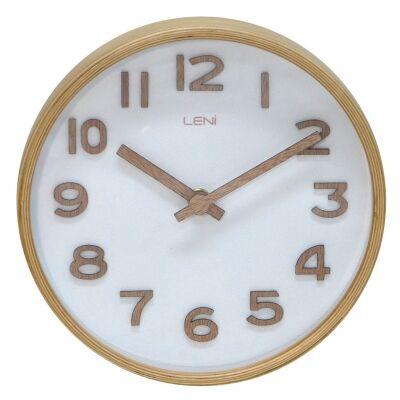 Leni Wooden Table / Wall Clock, 18cm, White