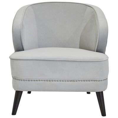 Hallie Velvet Fabric Armchair, Grey